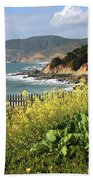 California Coast With Wildflowers And Fence Bath Towel