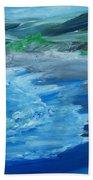 California Coastline Impressionism Bath Towel