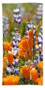 California Poppies And Lupine Wildflowers Bath Towel
