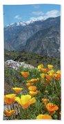 California Poppy And Mountain Panorama Bath Towel
