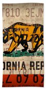 California State Flag Recycled Vintage License Plate Art Hand Towel