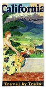 California This Summer Restored Vintage Poster Bath Towel
