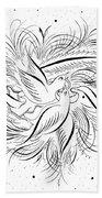 Calligraphic Love Birds Bath Towel