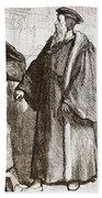 Calvin And Servetus Before The Council Of Geneva Bath Towel