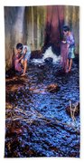 Cambodian Boys Netting Fish Bath Towel