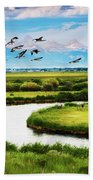 Canada Geese Entering Idaho's Teton Valley Bath Towel