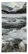 Canadian Rockies Rugged Winter Landscape Bath Towel