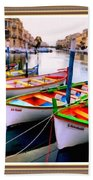 Canal Boats On A Canal In Venice L A S With Decorative Ornate Printed Frame.  Bath Towel
