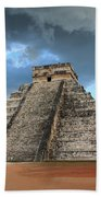 Cancun Mexico - Chichen Itza - Temple Of Kukulcan-el Castillo Pyramid 3  Bath Towel