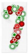 Candy Cane - Christmas Ornaments - Holiday Season Bath Towel