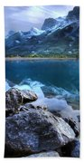 Canmore Reservoir Under A Setting Sun Bath Towel