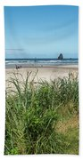 Cannon Beach And Purple Bloom Bath Towel