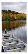Canoe On A Lake Bath Towel