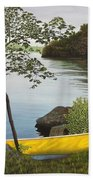 Canoe On The Bay Bath Towel