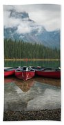 Canoes At Emerald Lake Hand Towel by James Udall