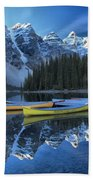 Canoes Under The Peaks Bath Towel
