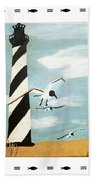 Cape Hatteras Lighthouse - Fish Border Bath Towel