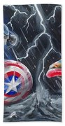 Captain American Vs Ironman Bath Towel