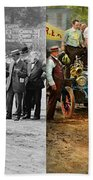 Car - Race - The End Of A Long Journey 1906 - Side By Side Bath Towel