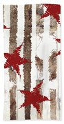 Cardinal Holiday Burlap Star Pattern Bath Towel