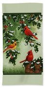 Cardinals And Holly - Version With Snow Bath Towel by Crista Forest