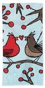 Cardnials In Love Bath Towel