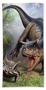 Carnotaurus Attacking An Antarctopelta Bath Towel