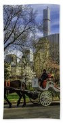 Carriage Ride In Central Park Bath Towel