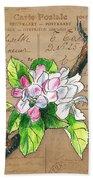 Carte Postale. Blossoming Apple Bath Towel