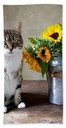 Cat And Sunflowers Bath Towel