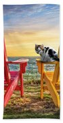 Cat Nap At The Beach Hand Towel by Debra and Dave Vanderlaan