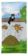 Tabby Cats Falling Bath Towel