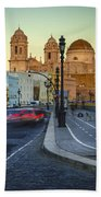 Cathedral From Campo Del Sur Cadiz Spain Bath Towel