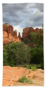 Cathedral Rock With Clouds Bath Towel