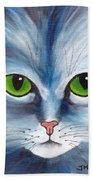 Cat Eyes Blue Bath Towel