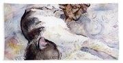 Cats In Watercolor Bath Towel