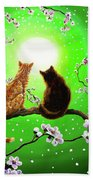 Cats On A Spring Night Bath Towel