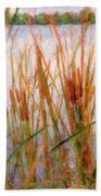 Cattails By The Lake Bath Towel