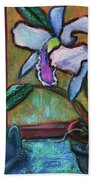 Cattleya Orchid And Frog By The Window Bath Towel