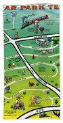 Cedar Park Texas Cartoon Map Bath Towel