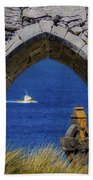 Celtic Cross And Fishing Vessel From Isle Of Inisheer Hand Towel by James Truett
