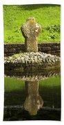 Ancient Celtic Cross At St Patrick Well Bath Towel