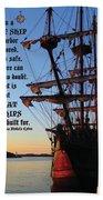 Celtic Tall Ship - El Galeon In Halifax Harbour At Sunrise Bath Towel