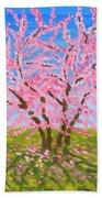 Cercis Tree, Oil Painting Bath Towel