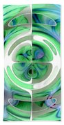 Cerulean Blue And Jade Abstract Collage Bath Towel