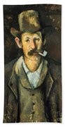 Cezanne: Pipe Smoker, C1892 Bath Towel