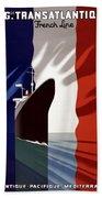 C.g. Transatlantique Vintage Travel Poster Bath Towel
