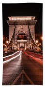 Chain Bridge At Midnight Bath Towel