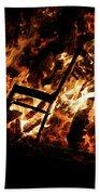 Chair Burning In Guy Fawkes Night Bonfire Bath Towel