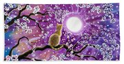 Champagne Tabby Cat In Cherry Blossoms Bath Towel